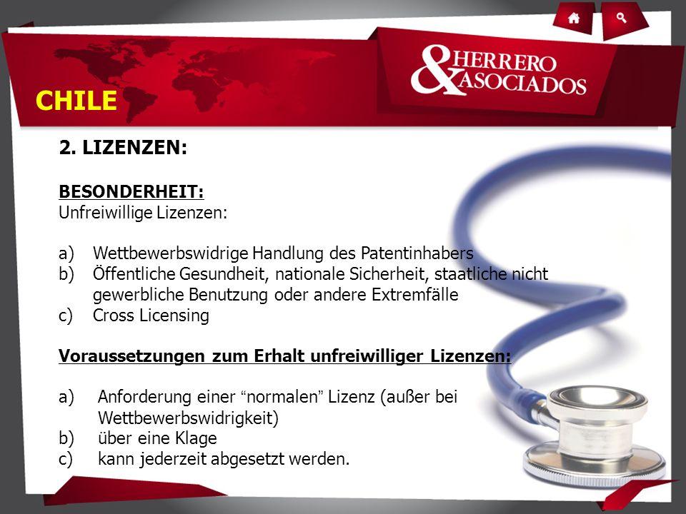 2. LIZENZEN: BESONDERHEIT: Unfreiwillige Lizenzen: a)Wettbewerbswidrige Handlung des Patentinhabers b)Öffentliche Gesundheit, nationale Sicherheit, st