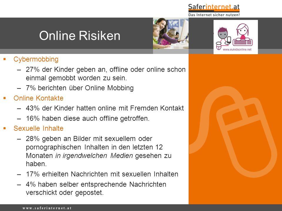 w w w. s a f e r i n t e r n e t. a t Online Risiken Cybermobbing –27% der Kinder geben an, offline oder online schon einmal gemobbt worden zu sein. –