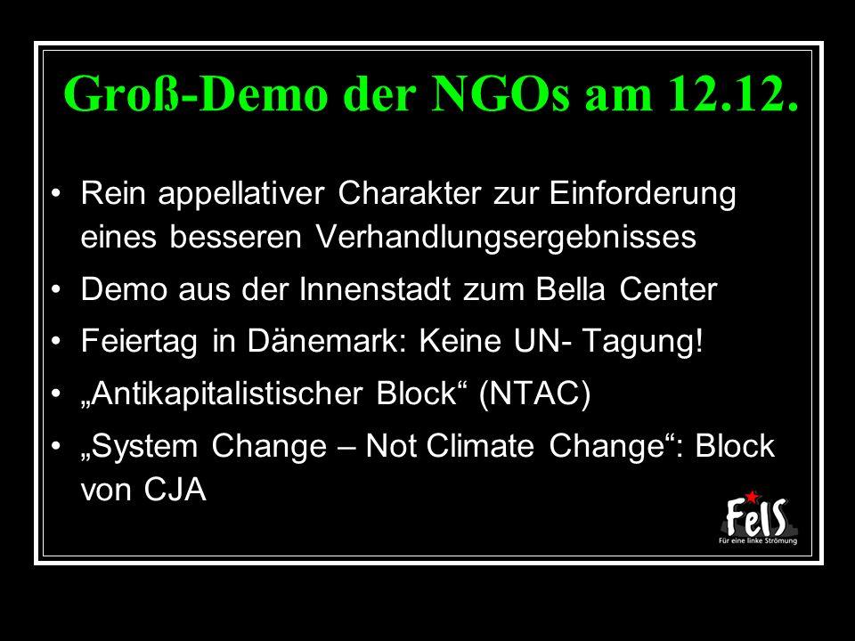 Groß-Demo der NGOs am 12.12. Rein appellativer Charakter zur Einforderung eines besseren Verhandlungsergebnisses Demo aus der Innenstadt zum Bella Cen
