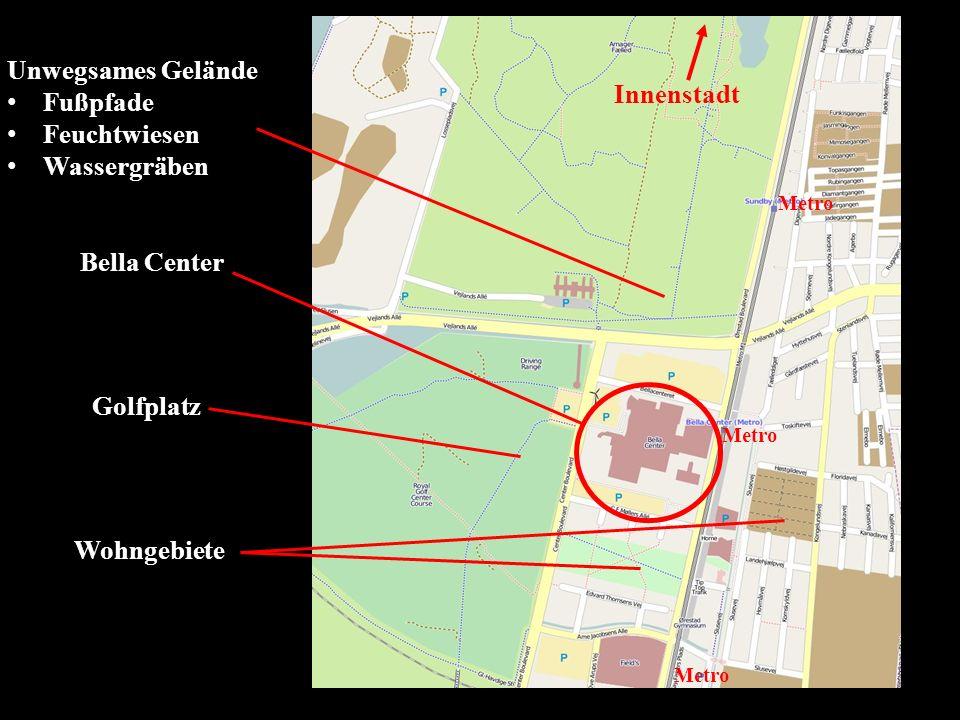 Unwegsames Gelände Fußpfade Feuchtwiesen Wassergräben Bella Center Golfplatz Wohngebiete Metro