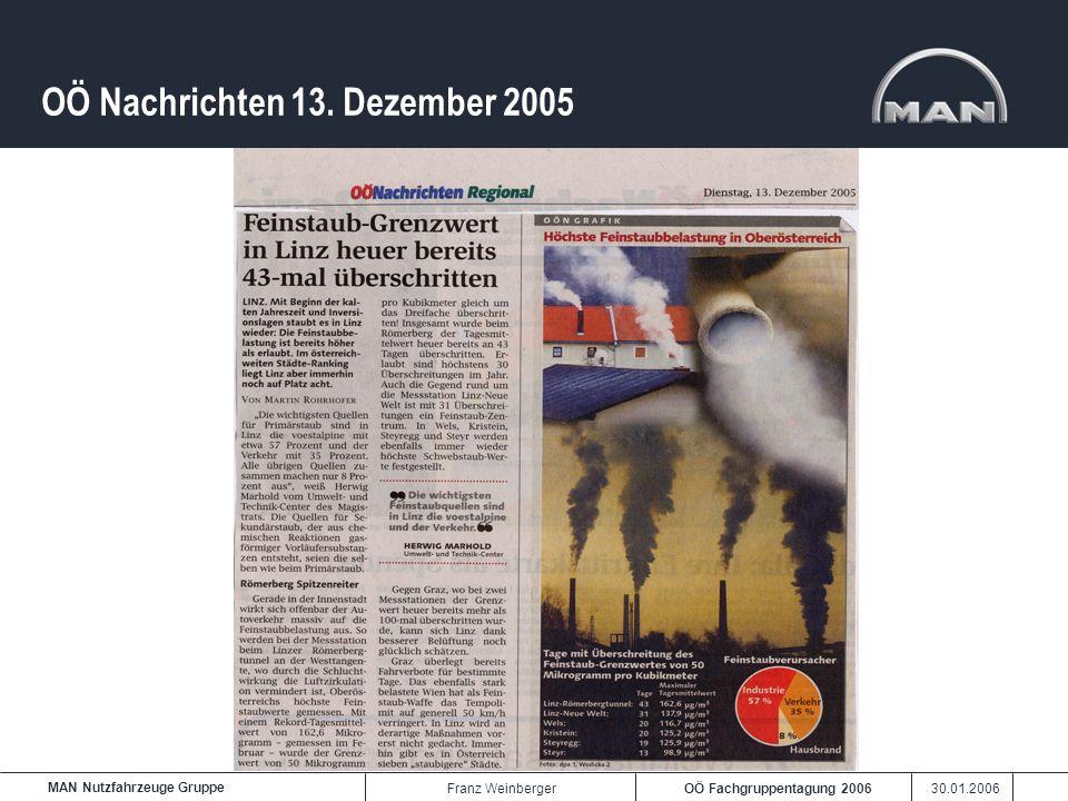OÖ Fachgruppentagung 2006 30.01.2006 MAN Nutzfahrzeuge Gruppe Franz Weinberger OÖ Nachrichten 13. Dezember 2005