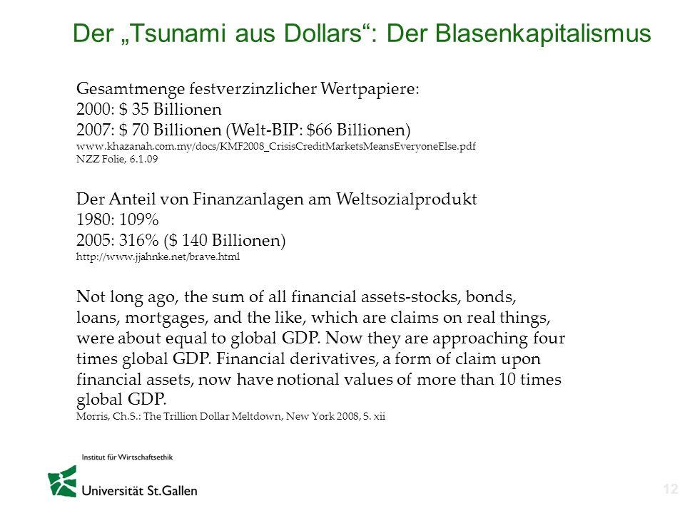n 12 Der Tsunami aus Dollars: Der Blasenkapitalismus Gesamtmenge festverzinzlicher Wertpapiere: 2000: $ 35 Billionen 2007: $ 70 Billionen (Welt-BIP: $
