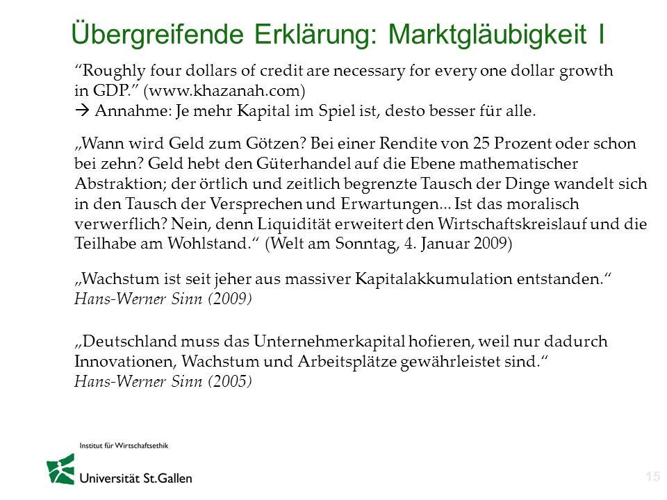 n 15 Übergreifende Erklärung: Marktgläubigkeit I Roughly four dollars of credit are necessary for every one dollar growth in GDP. (www.khazanah.com) A