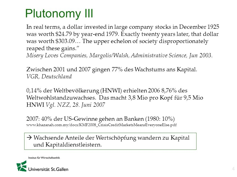 n 4 Plutonomy III In real terms, a dollar invested in large company stocks in December 1925 was worth $24.79 by year-end 1979. Exactly twenty years la