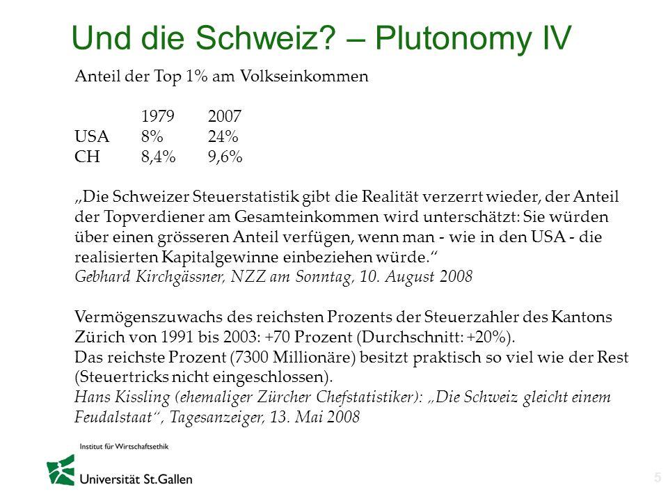 n 5 Und die Schweiz? – Plutonomy IV Anteil der Top 1% am Volkseinkommen 19792007 USA8%24% CH8,4%9,6% Die Schweizer Steuerstatistik gibt die Realität v