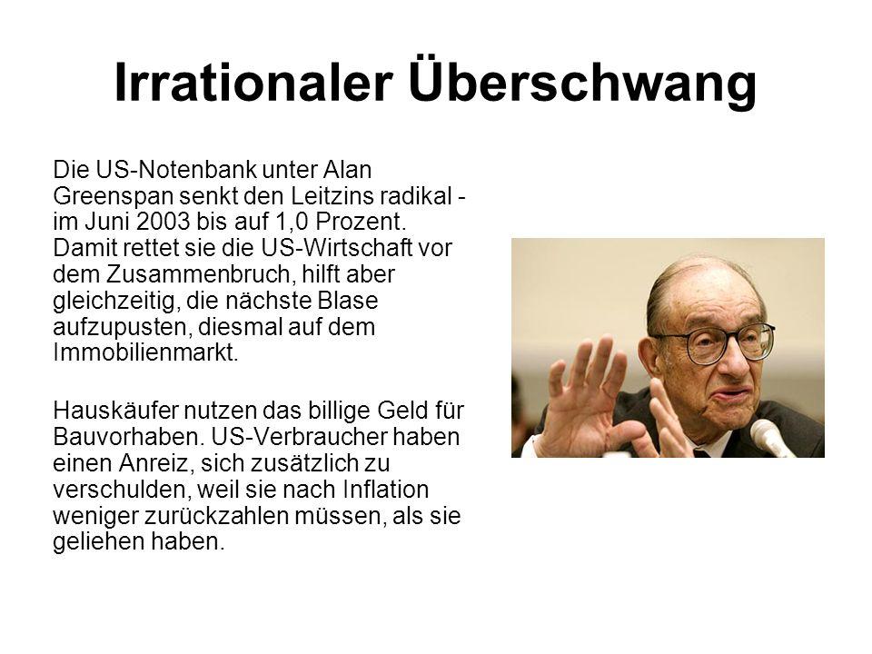 Irrationaler Überschwang Die US-Notenbank unter Alan Greenspan senkt den Leitzins radikal - im Juni 2003 bis auf 1,0 Prozent. Damit rettet sie die US-