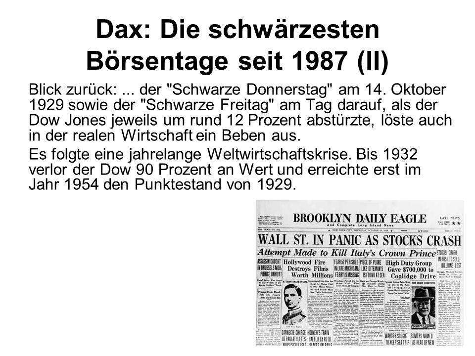 Dax: Die schwärzesten Börsentage seit 1987 (II) Blick zurück:... der