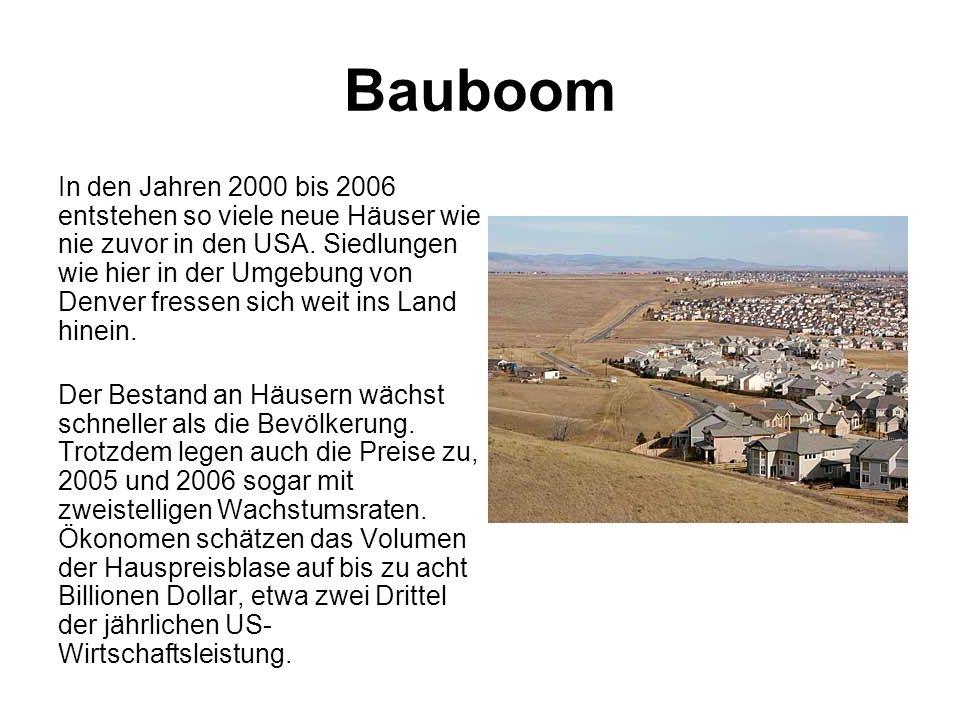 Bauboom In den Jahren 2000 bis 2006 entstehen so viele neue Häuser wie nie zuvor in den USA. Siedlungen wie hier in der Umgebung von Denver fressen si