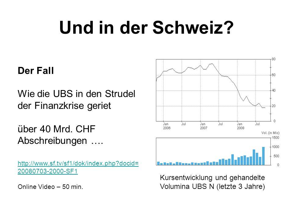 Der Fall Wie die UBS in den Strudel der Finanzkrise geriet über 40 Mrd. CHF Abschreibungen …. http://www.sf.tv/sf1/dok/index.php?docid= 20080703-2000-