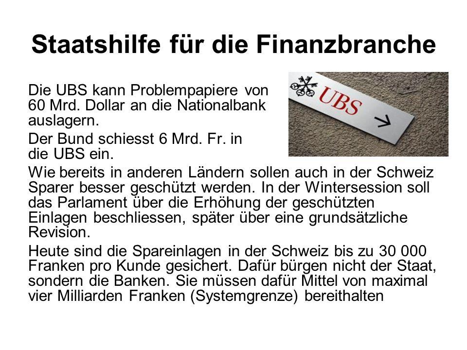 Staatshilfe für die Finanzbranche Die UBS kann Problempapiere von 60 Mrd. Dollar an die Nationalbank auslagern. Der Bund schiesst 6 Mrd. Fr. in die UB