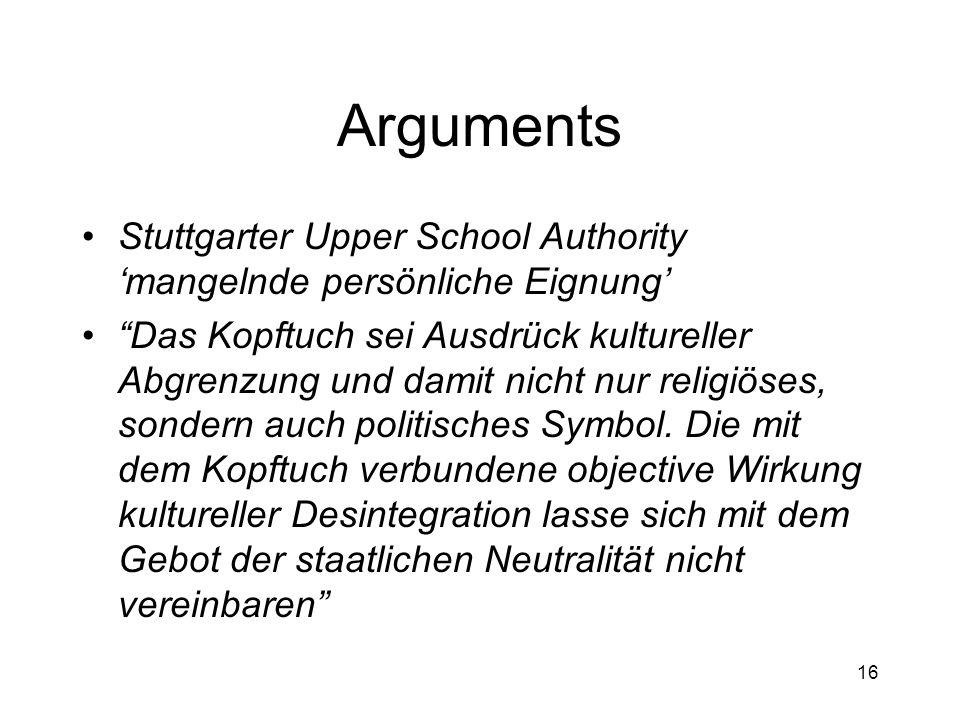 16 Arguments Stuttgarter Upper School Authority mangelnde persönliche Eignung Das Kopftuch sei Ausdrück kultureller Abgrenzung und damit nicht nur religiöses, sondern auch politisches Symbol.