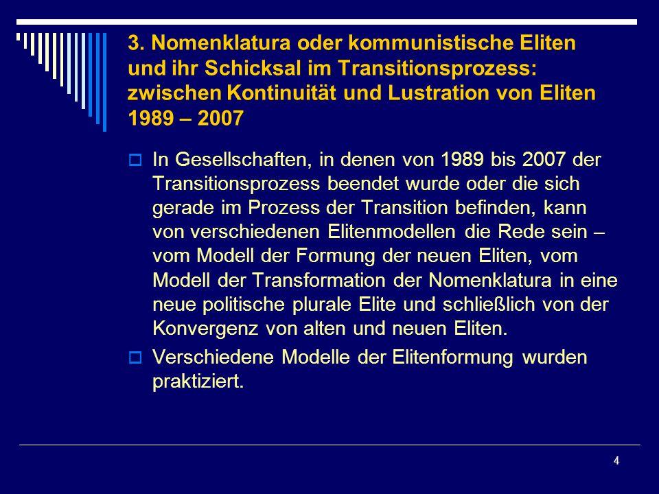 4 3. Nomenklatura oder kommunistische Eliten und ihr Schicksal im Transitionsprozess: zwischen Kontinuität und Lustration von Eliten 1989 – 2007 In Ge
