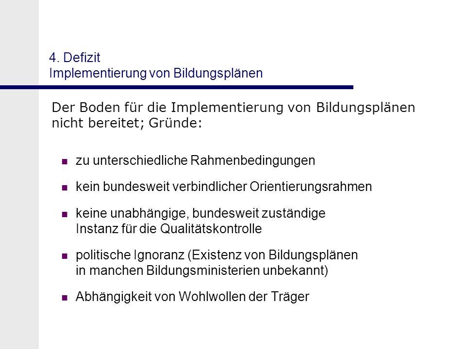 4. Defizit Implementierung von Bildungsplänen Der Boden für die Implementierung von Bildungsplänen nicht bereitet; Gründe: zu unterschiedliche Rahmenb