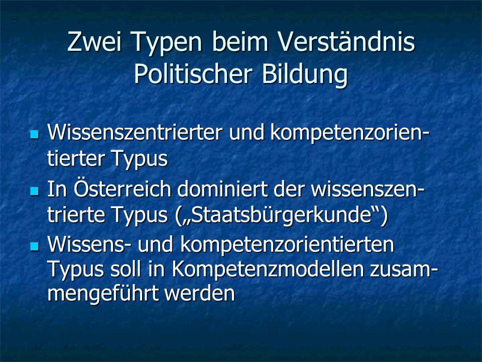 Zwei Typen beim Verständnis Politischer Bildung Wissenszentrierter und kompetenzorien- tierter Typus Wissenszentrierter und kompetenzorien- tierter Typus In Österreich dominiert der wissenszen- trierte Typus (Staatsbürgerkunde) In Österreich dominiert der wissenszen- trierte Typus (Staatsbürgerkunde) Wissens- und kompetenzorientierten Typus soll in Kompetenzmodellen zusam- mengeführt werden Wissens- und kompetenzorientierten Typus soll in Kompetenzmodellen zusam- mengeführt werden