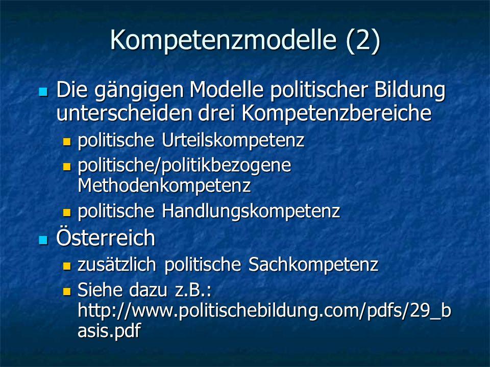Kompetenzmodelle (2) Die gängigen Modelle politischer Bildung unterscheiden drei Kompetenzbereiche Die gängigen Modelle politischer Bildung unterscheiden drei Kompetenzbereiche politische Urteilskompetenz politische Urteilskompetenz politische/politikbezogene Methodenkompetenz politische/politikbezogene Methodenkompetenz politische Handlungskompetenz politische Handlungskompetenz Österreich Österreich zusätzlich politische Sachkompetenz zusätzlich politische Sachkompetenz Siehe dazu z.B.: http://www.politischebildung.com/pdfs/29_b asis.pdf Siehe dazu z.B.: http://www.politischebildung.com/pdfs/29_b asis.pdf