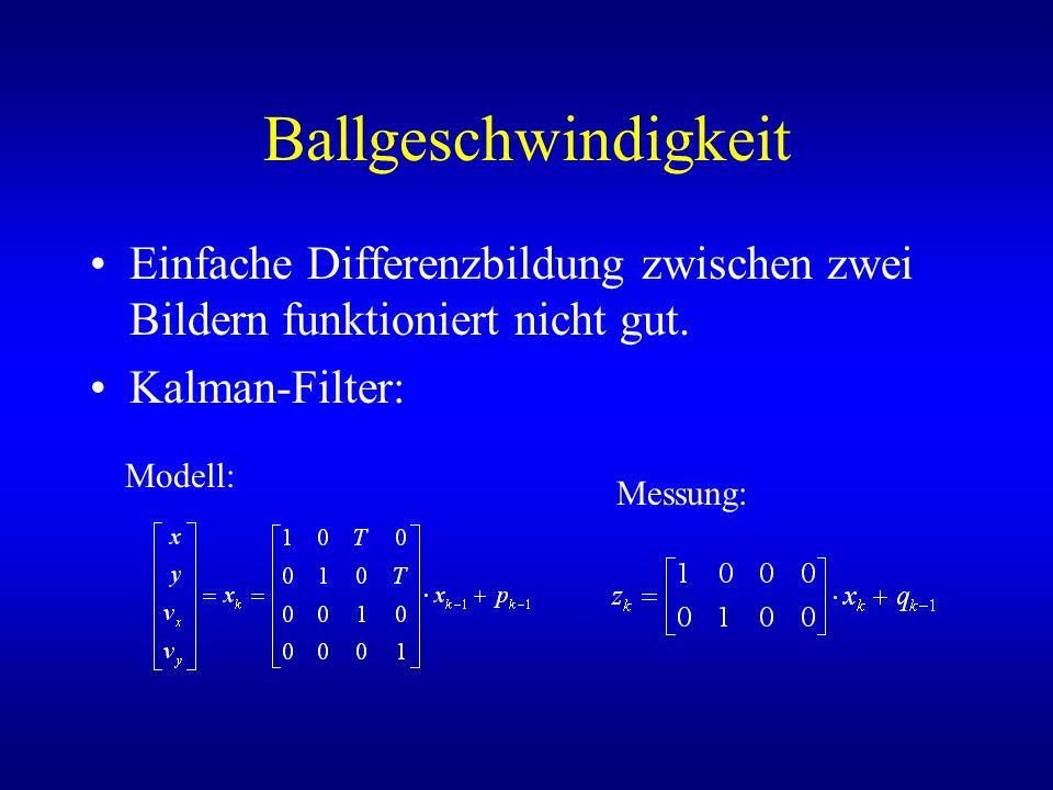 Ballgeschwindigkeit Einfache Differenzbildung zwischen zwei Bildern funktioniert nicht gut. Kalman-Filter: Modell: Messung: