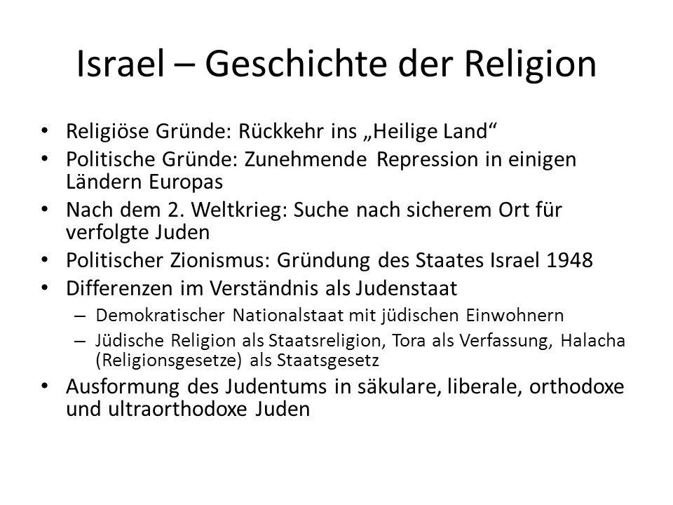 Israel – Religion in Staat und Gesellschaft Zionismus – Zion ist der Berg in Jerusalem, auf dem der Tempel stand.