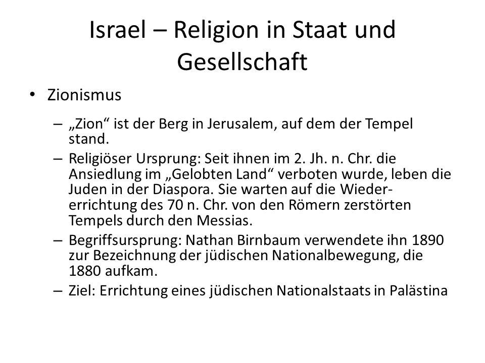 Israel – Religion in Staat und Gesellschaft Zionismus – Zion ist der Berg in Jerusalem, auf dem der Tempel stand. – Religiöser Ursprung: Seit ihnen im