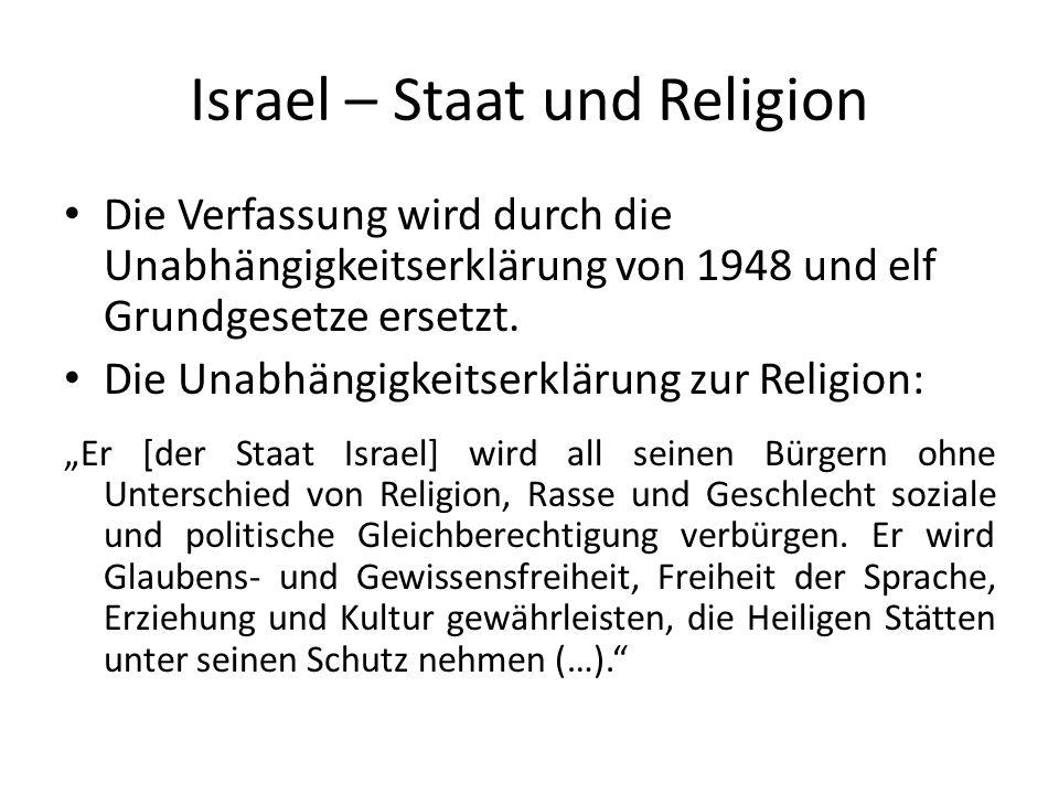 Israel – Staat und Religion Die Verfassung wird durch die Unabhängigkeitserklärung von 1948 und elf Grundgesetze ersetzt. Die Unabhängigkeitserklärung