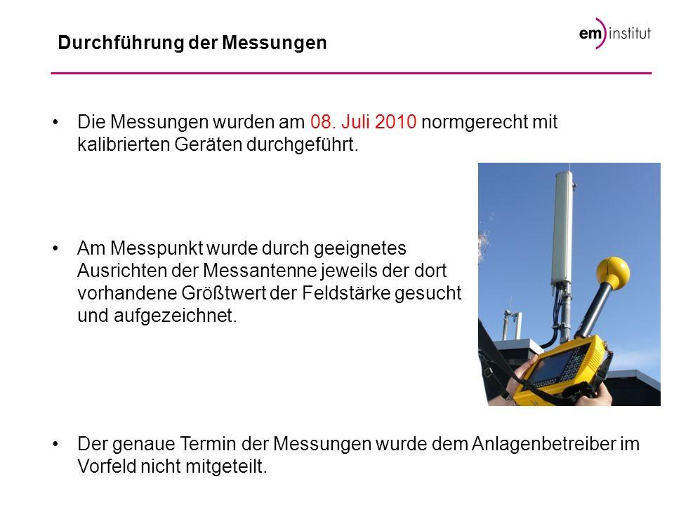 Durchführung der Messungen Die Messungen wurden am 08. Juli 2010 normgerecht mit kalibrierten Geräten durchgeführt. Am Messpunkt wurde durch geeignete