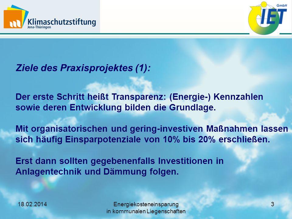 18.02.2014Energiekosteneinsparung in kommunalen Liegenschaften 4 Ziele des Praxisprojektes (2): Als teilnehmende Kommune benennen Sie einen Ansprechpartner für das Projekt.