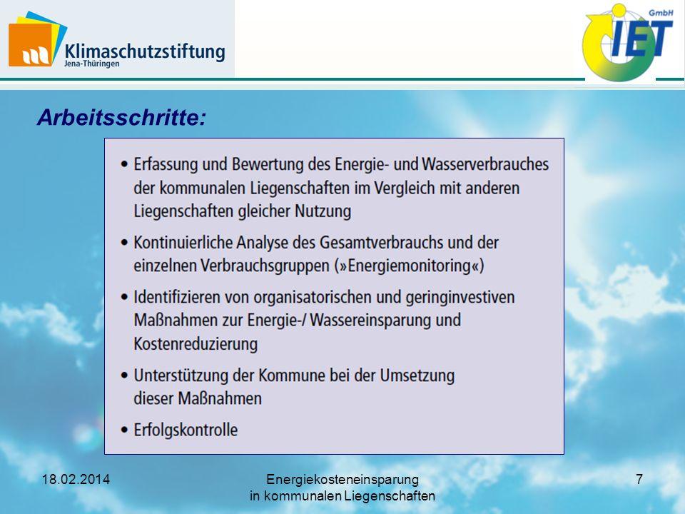 18.02.2014Energiekosteneinsparung in kommunalen Liegenschaften 8 Arbeitsschritt (1): Benchmarking