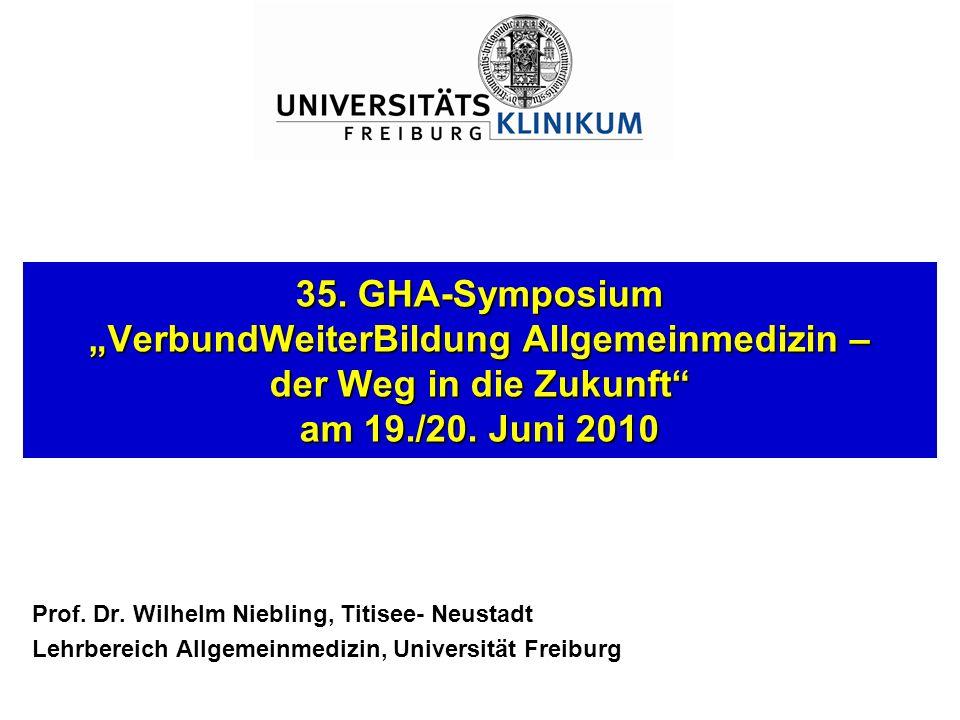 35. GHA-Symposium VerbundWeiterBildung Allgemeinmedizin – der Weg in die Zukunft am 19./20. Juni 2010 Prof. Dr. Wilhelm Niebling, Titisee- Neustadt Le
