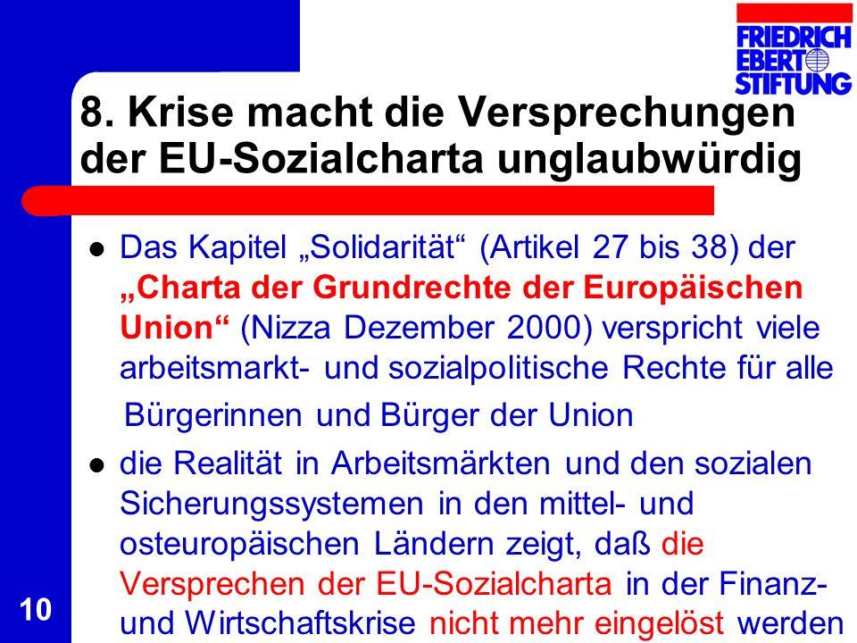 10 8. Krise macht die Versprechungen der EU-Sozialcharta unglaubwürdig Das Kapitel Solidarität (Artikel 27 bis 38) der Charta der Grundrechte der Euro