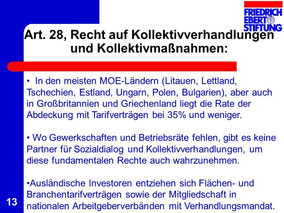 13 Art. 28, Recht auf Kollektivverhandlungen und Kollektivmaßnahmen: In den meisten MOE-Ländern (Litauen, Lettland, Tschechien, Estland, Ungarn, Polen