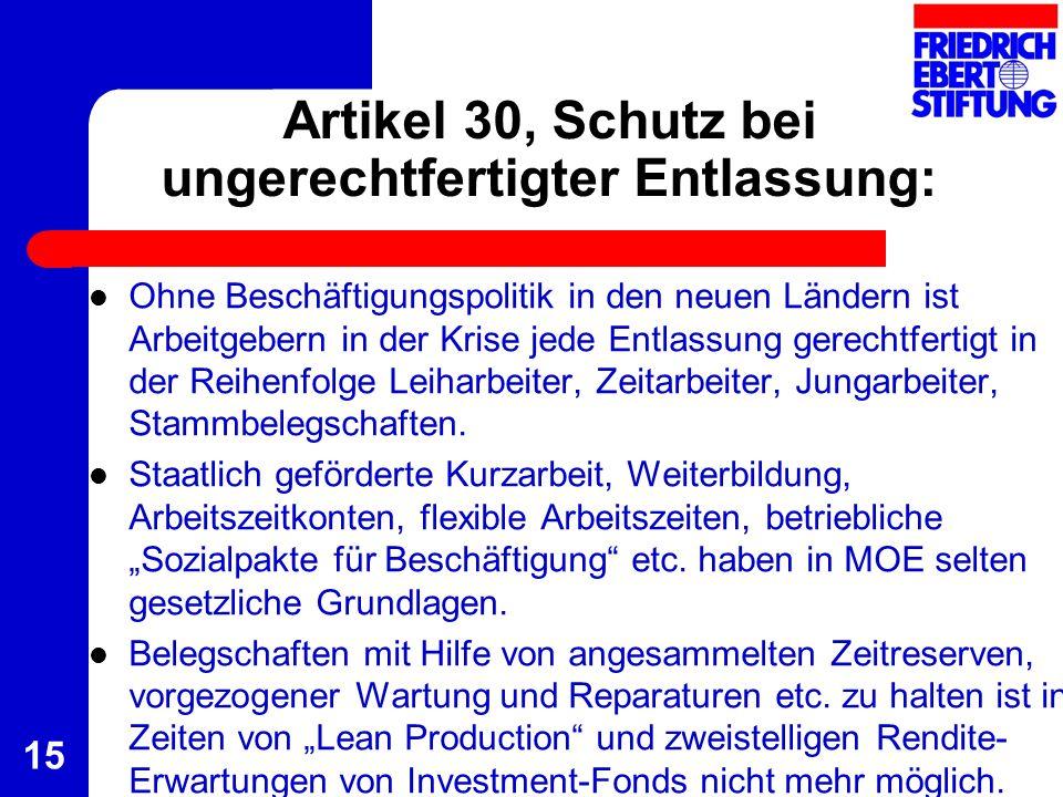 15 Artikel 30, Schutz bei ungerechtfertigter Entlassung: Ohne Beschäftigungspolitik in den neuen Ländern ist Arbeitgebern in der Krise jede Entlassung