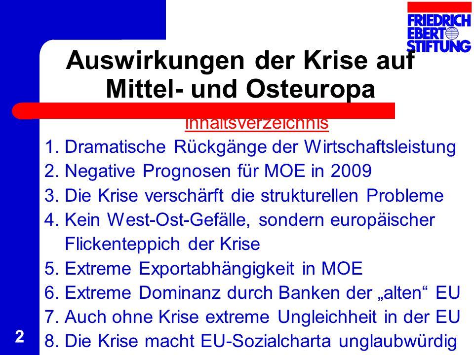 2 Auswirkungen der Krise auf Mittel- und Osteuropa Inhaltsverzeichnis 1. Dramatische Rückgänge der Wirtschaftsleistung 2. Negative Prognosen für MOE i