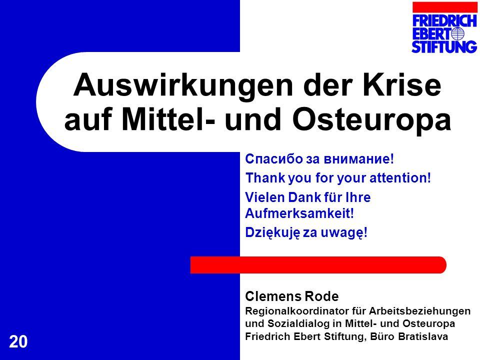 20 Auswirkungen der Krise auf Mittel- und Osteuropa Clemens Rode Regionalkoordinator für Arbeitsbeziehungen und Sozialdialog in Mittel- und Osteuropa