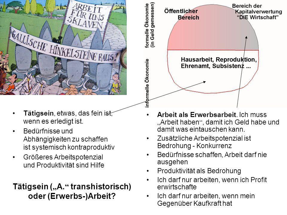 Tätigsein ( A. transhistorisch) oder (Erwerbs-)Arbeit.