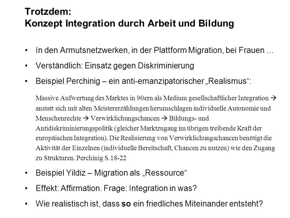 Trotzdem: Konzept Integration durch Arbeit und Bildung In den Armutsnetzwerken, in der Plattform Migration, bei Frauen... Verständlich: Einsatz gegen