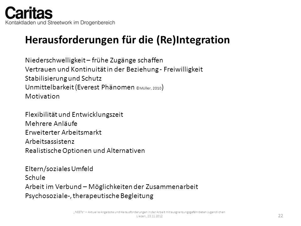 NEETs – Aktuelle Angebote und Herausforderungen in der Arbeit mit ausgrenzungsgefährdeten Jugendlichen Liezen, 23.11.2012 Herausforderungen für die (R