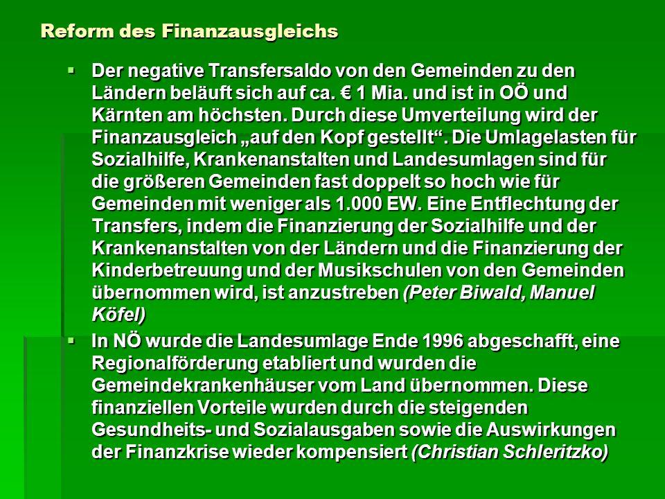 Reform des Finanzausgleichs Der negative Transfersaldo von den Gemeinden zu den Ländern beläuft sich auf ca. 1 Mia. und ist in OÖ und Kärnten am höchs