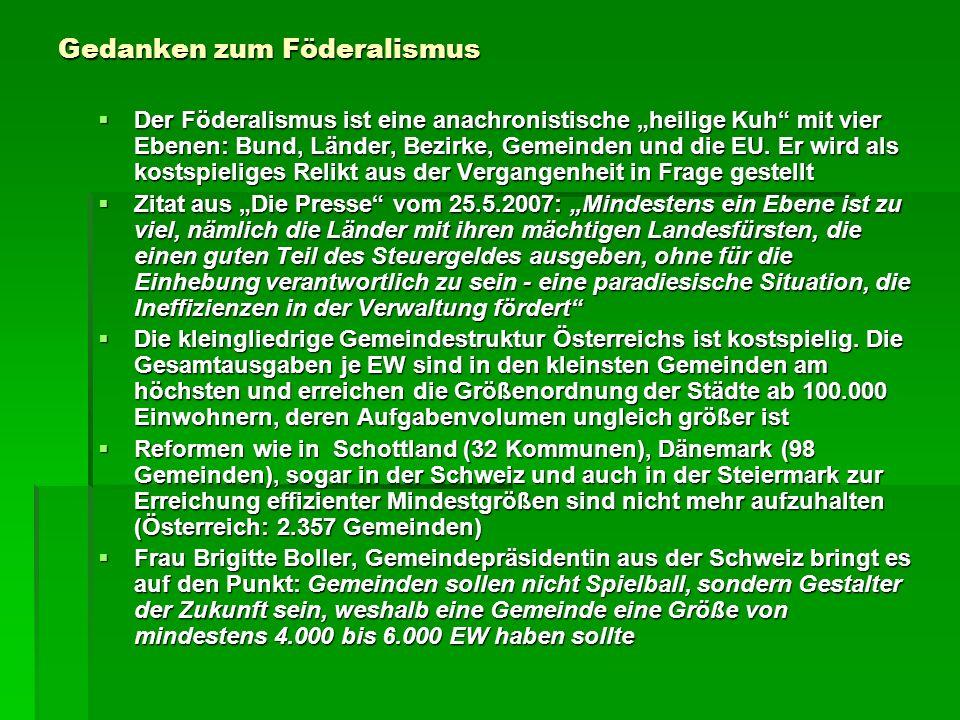 Gedanken zum Föderalismus Der Föderalismus ist eine anachronistische heilige Kuh mit vier Ebenen: Bund, Länder, Bezirke, Gemeinden und die EU. Er wird