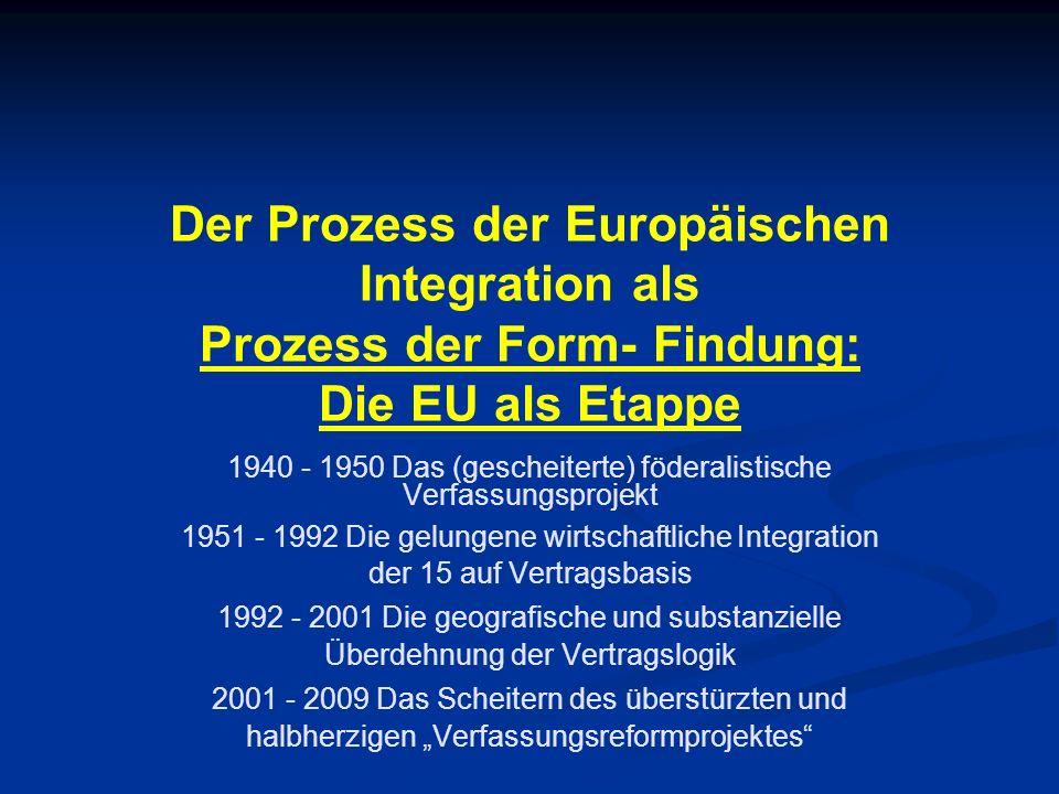 Der Prozess der Europäischen Integration als Prozess der Form- Findung: Die EU als Etappe 1940 - 1950 Das (gescheiterte) föderalistische Verfassungspr