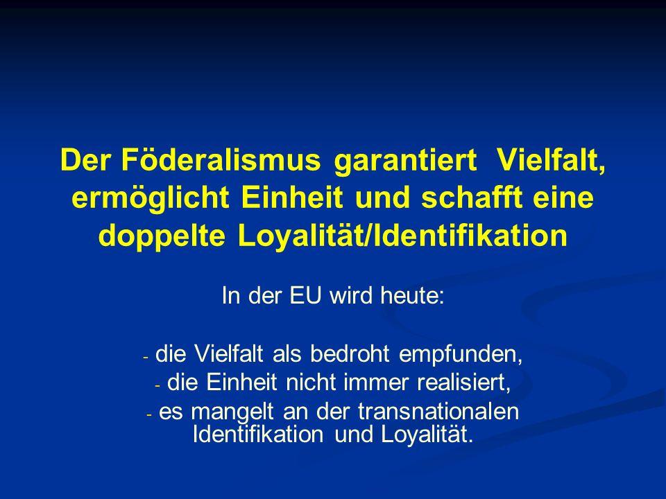 Der Föderalismus garantiert Vielfalt, ermöglicht Einheit und schafft eine doppelte Loyalität/Identifikation In der EU wird heute: - - die Vielfalt als bedroht empfunden, - - die Einheit nicht immer realisiert, - - es mangelt an der transnationalen Identifikation und Loyalität.