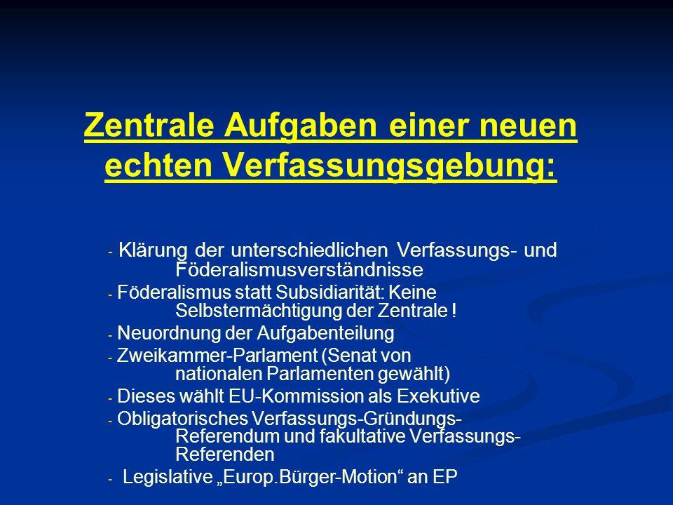 Zentrale Aufgaben einer neuen echten Verfassungsgebung: - - Klärung der unterschiedlichen Verfassungs- und Föderalismusverständnisse - - Föderalismus