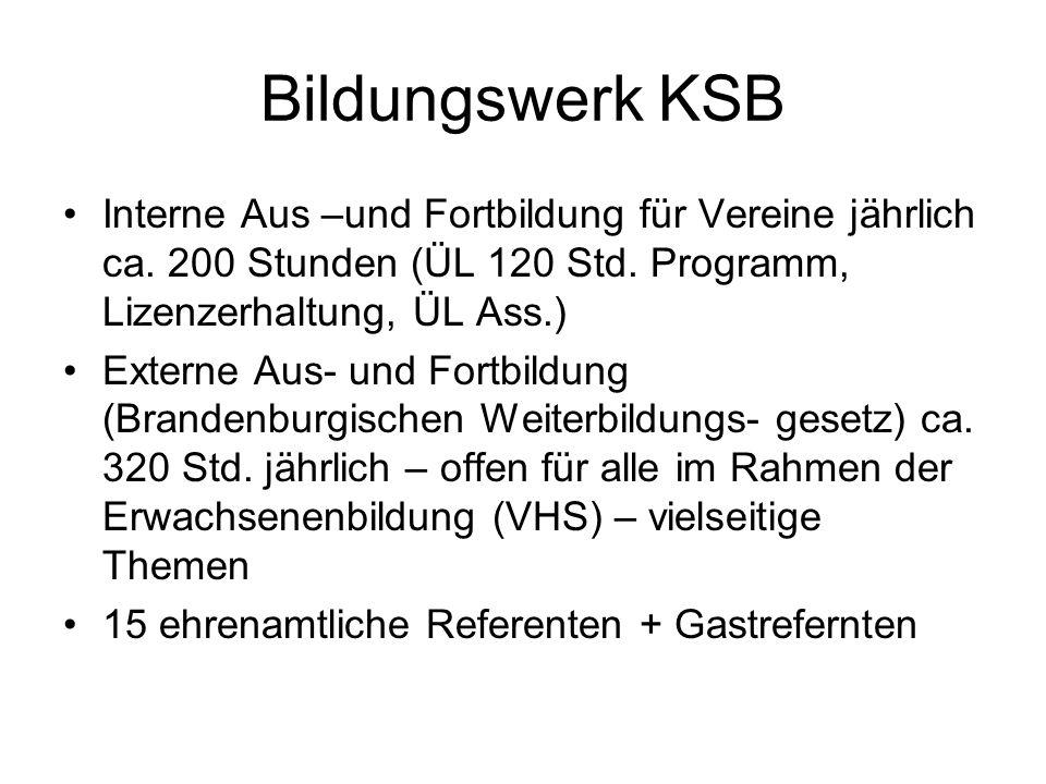 Bildungswerk KSB Interne Aus –und Fortbildung für Vereine jährlich ca. 200 Stunden (ÜL 120 Std. Programm, Lizenzerhaltung, ÜL Ass.) Externe Aus- und F