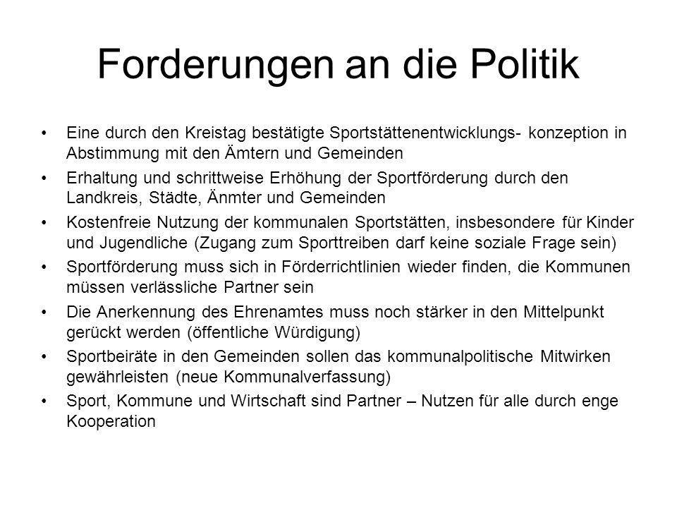 Forderungen an die Politik Eine durch den Kreistag bestätigte Sportstättenentwicklungs- konzeption in Abstimmung mit den Ämtern und Gemeinden Erhaltun