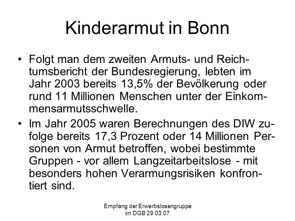 Empfang der Erwerbslosengruppe im DGB 29.03.07 Kinderarmut in Bonn Folgt man dem zweiten Armuts- und Reich- tumsbericht der Bundesregierung, lebten im Jahr 2003 bereits 13,5% der Bevölkerung oder rund 11 Millionen Menschen unter der Einkom- mensarmutsschwelle.