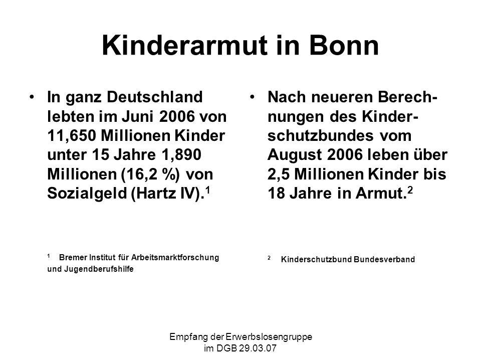 Empfang der Erwerbslosengruppe im DGB 29.03.07 Kinderarmut in Bonn Im Juni 2006 waren in Bonn 7.860 Kinder unter 15 Jahren auf Sozialgeld (Hartz IV) angewiesen.