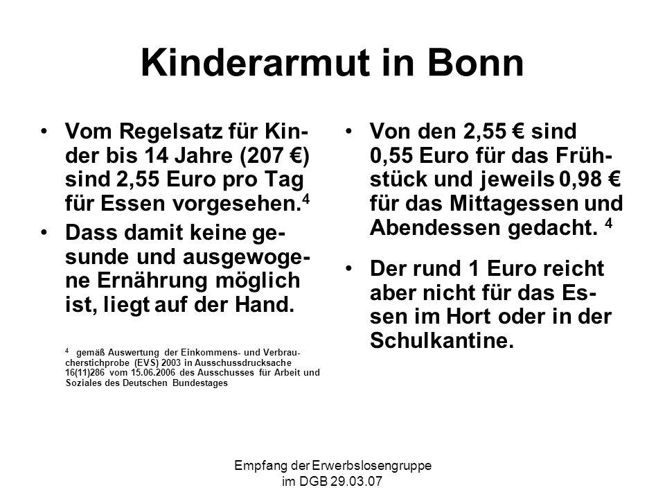 Empfang der Erwerbslosengruppe im DGB 29.03.07 Kinderarmut in Bonn Vom Regelsatz für Kin- der bis 14 Jahre (207 ) sind 2,55 Euro pro Tag für Essen vorgesehen.