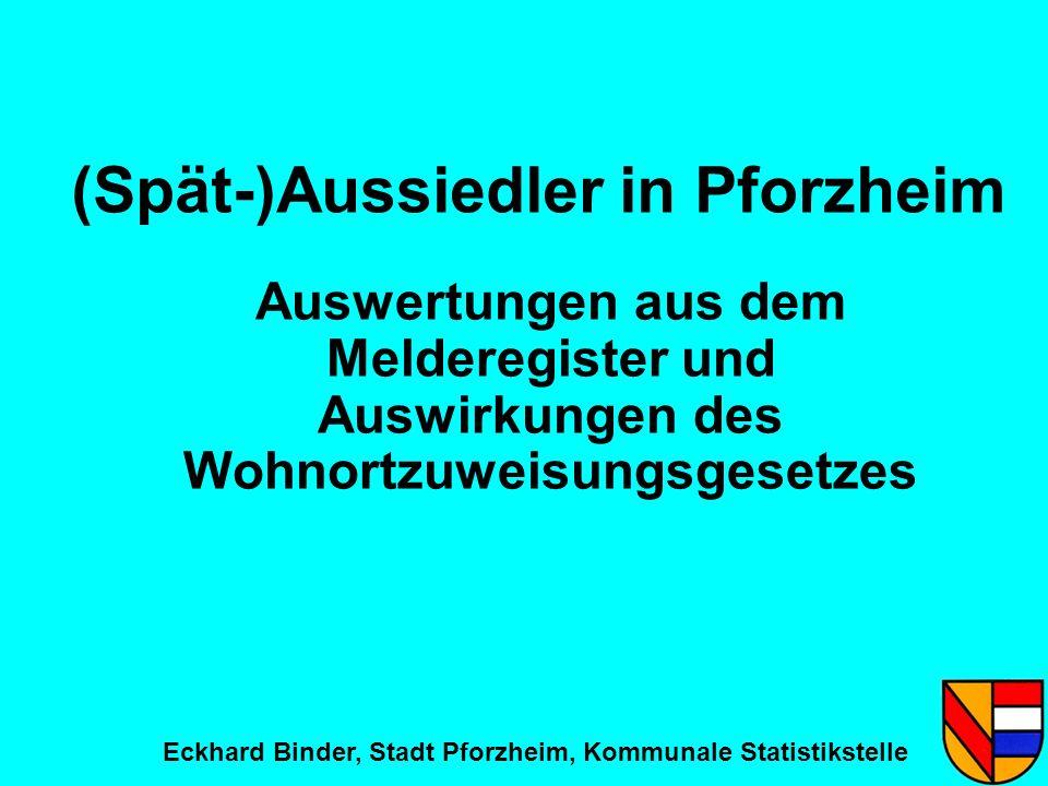 (Spät-)Aussiedler in Pforzheim Auswertungen aus dem Melderegister und Auswirkungen des Wohnortzuweisungsgesetzes Eckhard Binder, Stadt Pforzheim, Komm