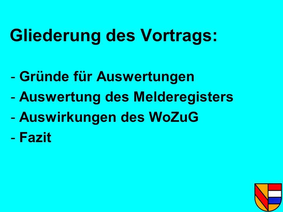 Gliederung des Vortrags: - Gründe für Auswertungen - Auswertung des Melderegisters - Auswirkungen des WoZuG - Fazit