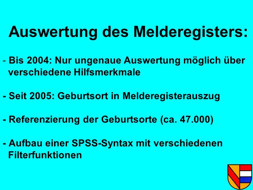 Auswertung des Melderegisters: - Bis 2004: Nur ungenaue Auswertung möglich über verschiedene Hilfsmerkmale - Seit 2005: Geburtsort in Melderegisteraus