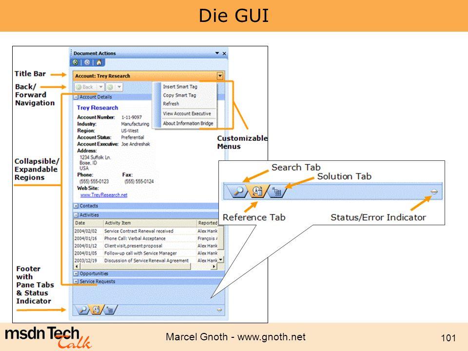 Marcel Gnoth - www.gnoth.net 101 Die GUI