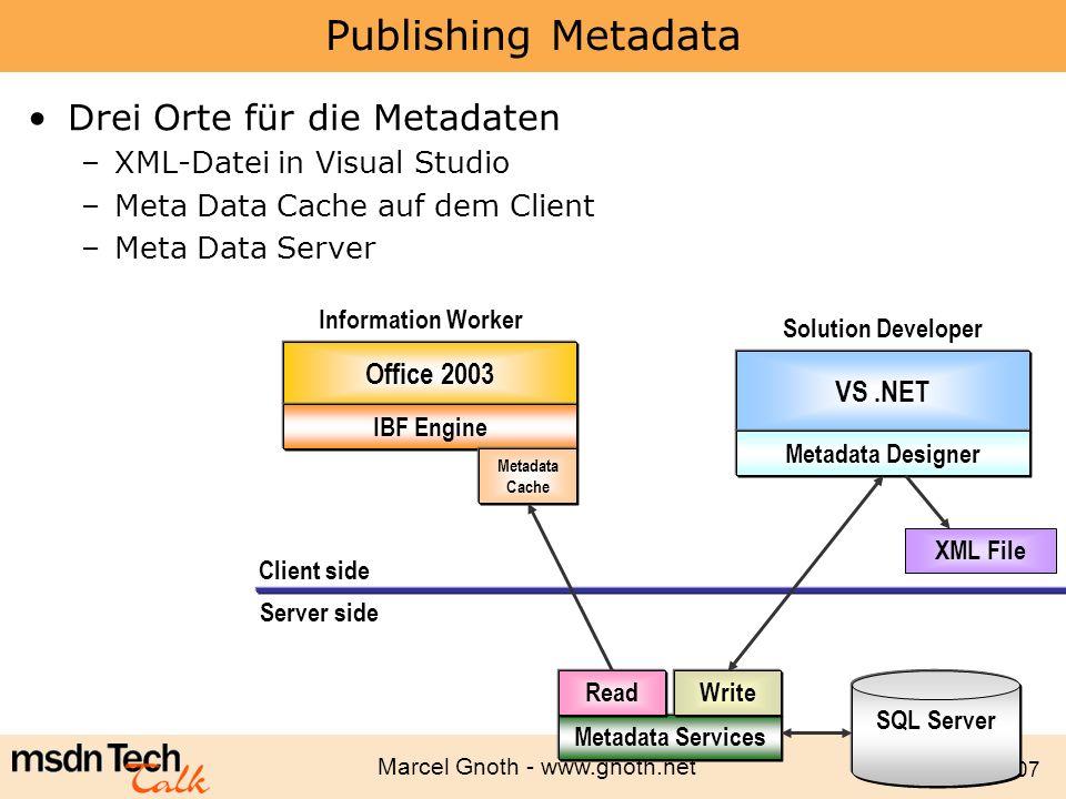 Marcel Gnoth - www.gnoth.net 107 Publishing Metadata Drei Orte für die Metadaten –XML-Datei in Visual Studio –Meta Data Cache auf dem Client –Meta Dat